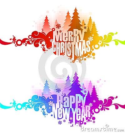 Christmas ornate colorful banners