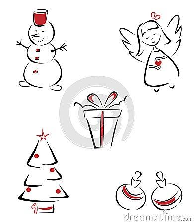 Christmas outline set