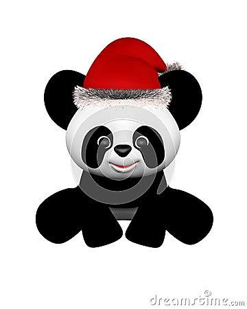 Christmas Panda with Santa Hat - sitting
