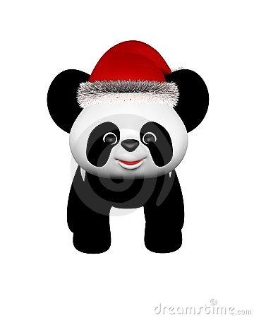 Christmas Panda with Santa Hat - standing