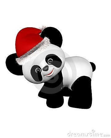 Christmas Panda with Santa Hat - turning