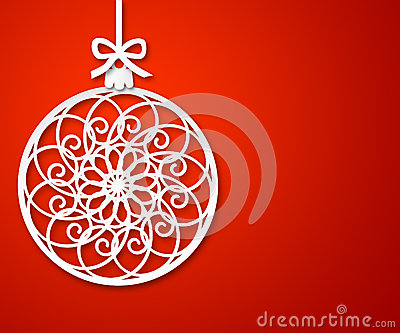 Christmas paper ball on red background 2