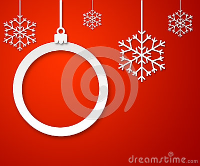 Christmas paper ball on red background 3