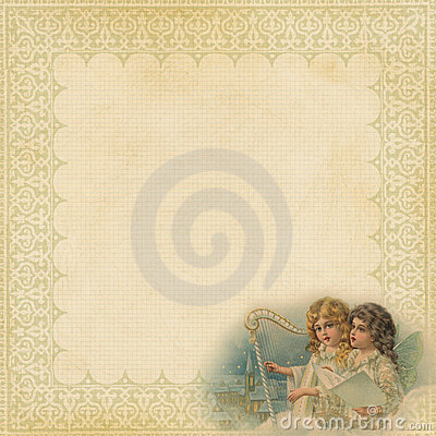 Free Christmas Paper With Fancy Frame And Angels Stock Image - 17542891