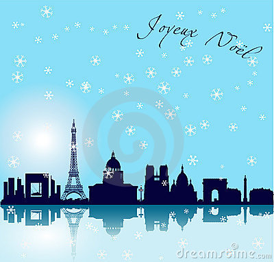 Free Christmas Paris Vector Background Royalty Free Stock Images - 11817639