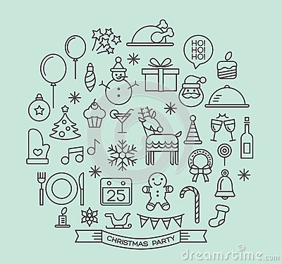 Free Christmas Party Elements Outline Icons Set Royalty Free Stock Photo - 47494105
