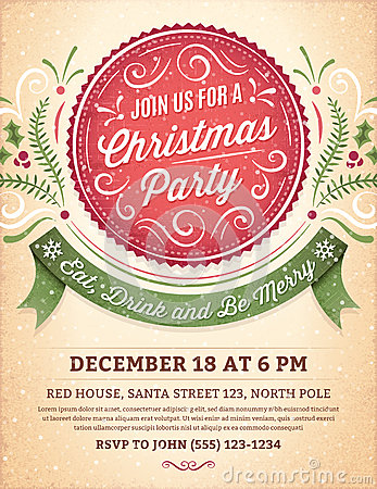 Free Christmas Party Invitation With A Big Red Label Royalty Free Stock Image - 61147786