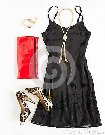 Free Christmas Party Outfit. Cocktail Dress Outfit, Night Out Look On White Background. Little Black Dress, Red Clutch, Leopard Shoes, Royalty Free Stock Photography - 103383087