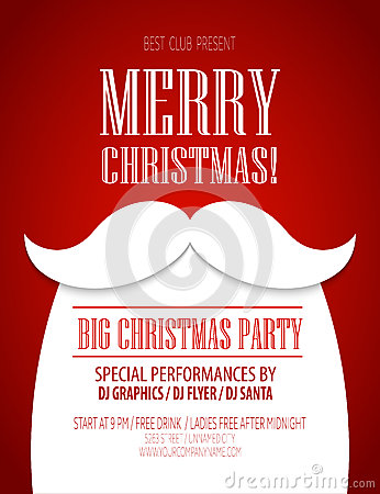 Free Christmas Party Poster. Vector Illustration Stock Image - 58788071