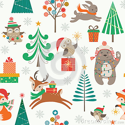 Free Christmas Patter With Cute Animals Royalty Free Stock Image - 60680026