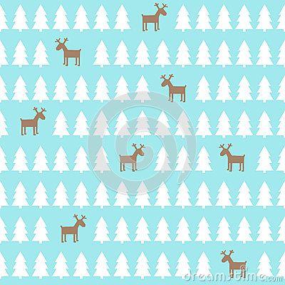Free Christmas Pattern - Deer, Xmas Trees. Happy New Year Background. Stock Images - 59298074