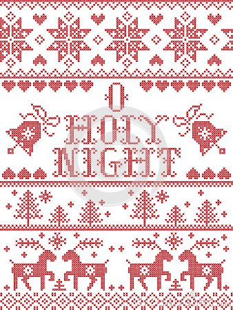 Christmas pattern O holy night Christmas carol seamless pattern inspired by Nordic culture festive winter in cross stitched Vector Illustration