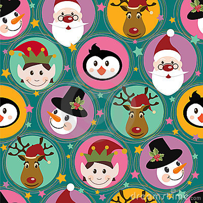 Free Christmas Pattern With Santa, Deer,penguin,elf And Stock Photos - 19641243