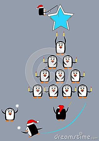 Christmas penguin carols