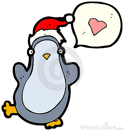 Christmas penguin in love cartoon