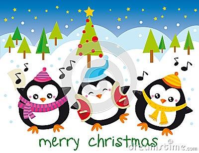 Christmas penguins Stock Photo
