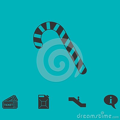 Christmas peppermint candy cane icon flat Vector Illustration