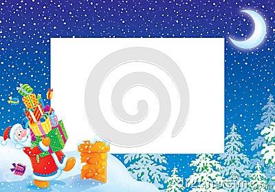 Christmas photo frame / border with Santa Claus