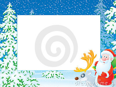 Christmas photo frame with Santa Claus riding on r
