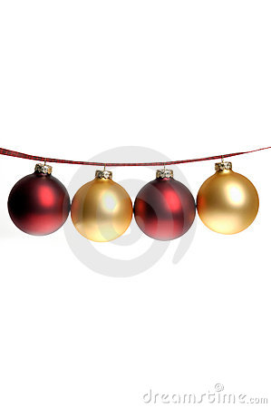 Free Christmas Photo Of Red And Gold Ornaments Strung On Plaid Ribbon Royalty Free Stock Images - 1369469