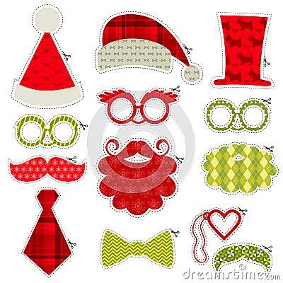 Free Christmas Photobooth Party Set Stock Photo - 35100140