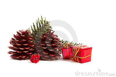 Christmas pine cones, presents