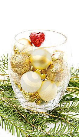 Christmas pine tree and golden baubles