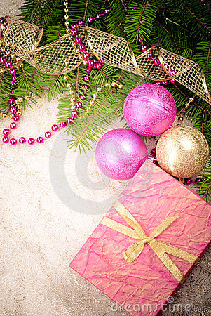Christmas pink and gold decorations
