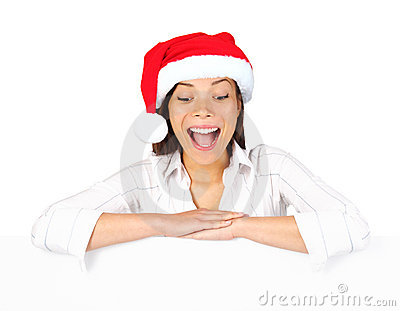 Christmas placard sign woman