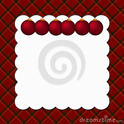 Christmas Plaid Background with Ornaments