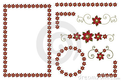 Christmas poinsettia borders and decorations Vector Illustration