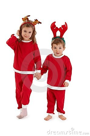 Free Christmas Portrait Of Cute Siblings Royalty Free Stock Images - 21344859