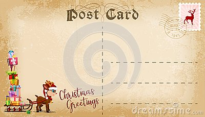 Christmas post card with cute cartoon reindeer and copy space for text. Vector Vector Illustration