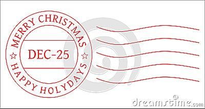 CHRISTMAS POSTAGE STAMP - POSTMARK VECTOR