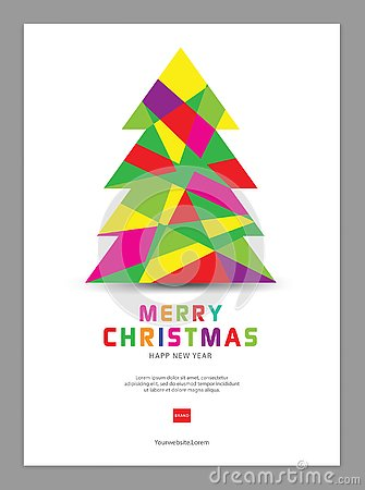 Christmas Poster, postcard template, cards, flyer, advertisement, Christmas tree vector Vector Illustration