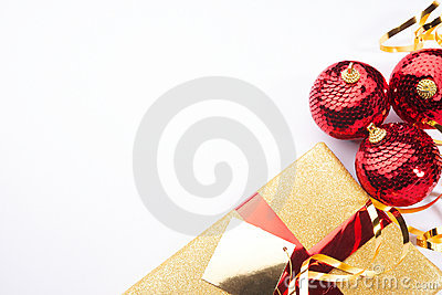 Christmas present background gold and red