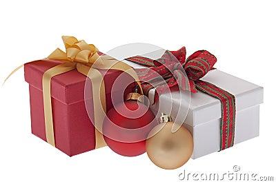 Christmas present with Christmas tree ball