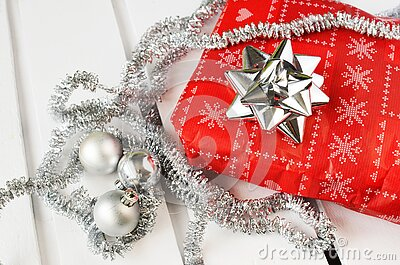 Christmas Present With Garland Free Public Domain Cc0 Image