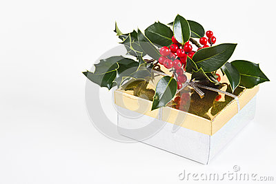 Christmas present gift box with holly and berries