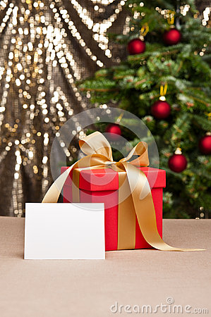 Christmas present with white card