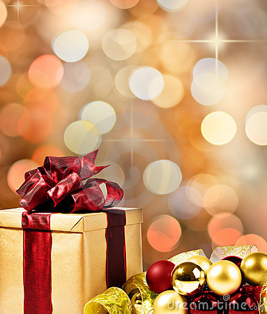 Free Christmas Present With Xmas Bubbles And Ribbon Royalty Free Stock Images - 20910749