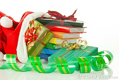 Christmas presents with e-book reader and books