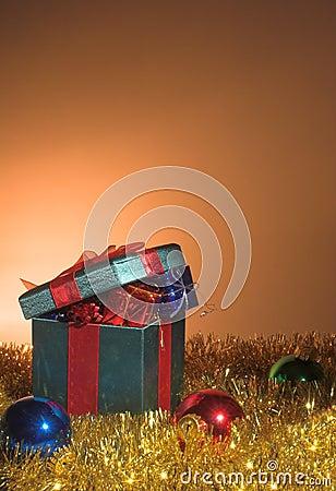 Christmas presents and tinsel
