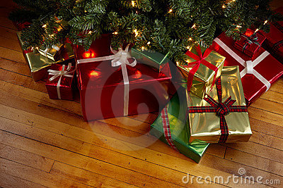 Christmas Presents under a Christmas tree