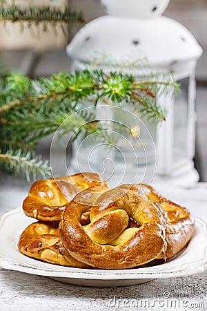 Christmas pretzel under fir branch