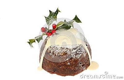 CHristmas pudding with cream