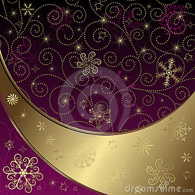 Free Christmas Purple-gold Frame Royalty Free Stock Photography - 22038347