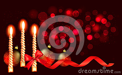 Christmas red background with candle and red ribbo