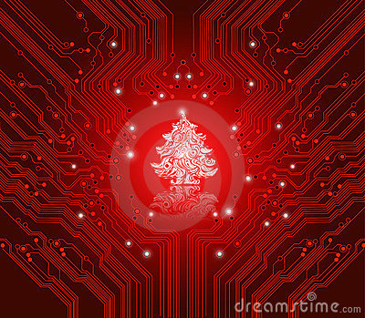 Christmas red background - creative technology