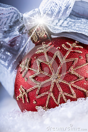 Free Christmas Red Ball Or Candle With Golden Ornaments,silver Ribbon And Snow. Royalty Free Stock Images - 47785899
